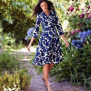 Boden   Blue Riviera Bold Print Shirt Dress US 6L